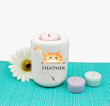 Personalized ceramic tealight candle holder ginger cat image front view