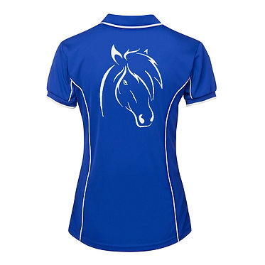 Ladies horse pipping polo shirt royal blue white cute horse image back view