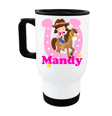 Personalised travel mug stainless steel cowgirl in hot pink image front view