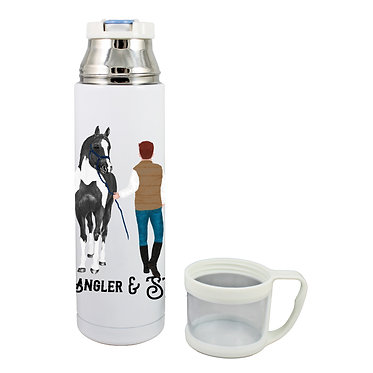 Personalised thermos flask 500ml stainless steel red haired man and horse image front lid off view