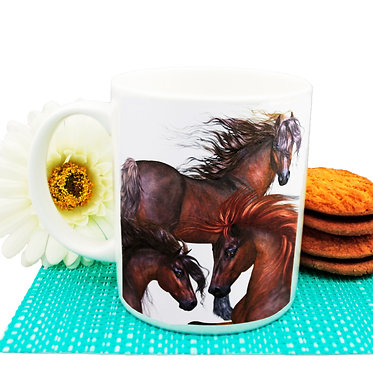 Three horses ceramic coffee mug front view