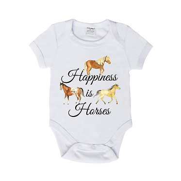 Baby romper play suit white with happiness is horses image front view
