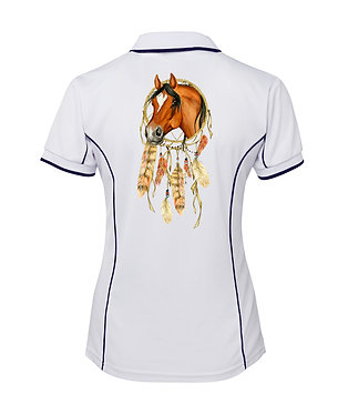 White with dark navy piping dream catcher horse image ladies polo shirt back view