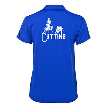 Ladies horse cool polo shirt royal blue white cutting horse image back view