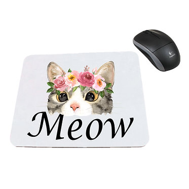 Neoprene computer mouse pad cat meow image front view