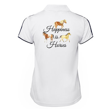 Ladies horse cool polo shirt white happiness is horses back view
