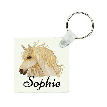 Personalised square MDF wood key-ring watercolour horse image front view
