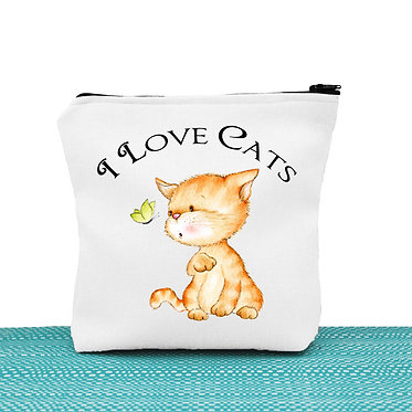 Cat theme cosmetic toiletry bag white I love cats image front view