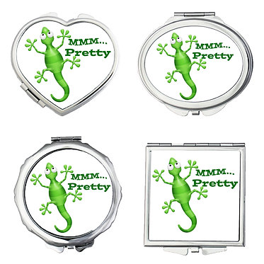 Set of four compact mirrors shapes round, square, heart, oval gecko lizard MMM... pretty image front view