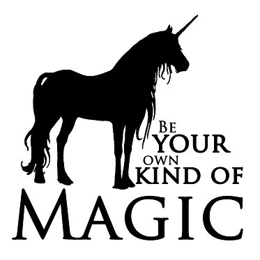 """Unicorn with quote """"be your own kind of magic"""" vinyl decal sticker in black front view"""