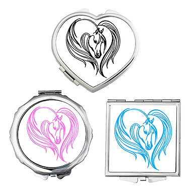 Compact mirrors in 3 shapes heart, round and square majestic horse image front view