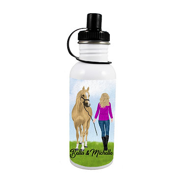 Personalised stainless steel water bottle blond haired girl and horse image front view