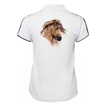 White with dark navy ladies cool polo top wild paint horse image back view