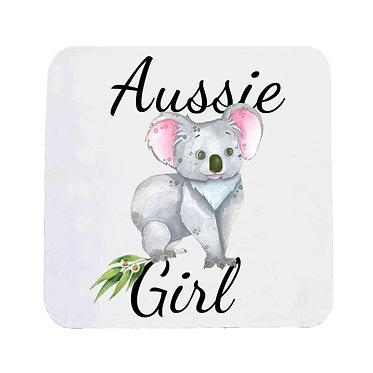 Neoprene drink coaster Australian Aussie girl Koala image front view