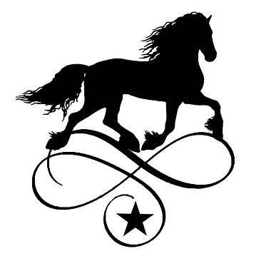 Horse vinyl decal sticker for horse float friesian horse on scroll in black front view