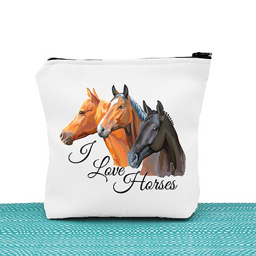 White cosmetic toiletry bag with zipper I love horses image front view