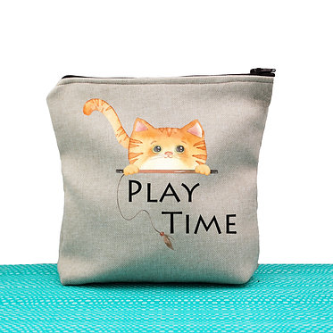 Cat theme cosmetic toiletry bag tan ginger cat play time image front view