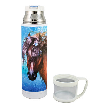 Thermos flask drink travel bottle 500ml stainless steel with cup off fantasy horse image front view