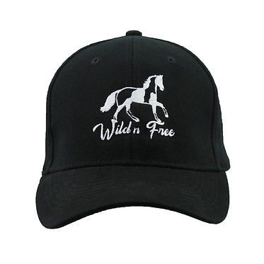 Black cap hat with paint horse image and wild n free text front view