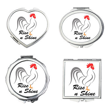 Compact mirrors set of four round, square, heart, oval with rooster rise n shine image front view
