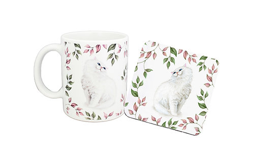 Ceramic coffee mug and drink coaster set with a white cat and leaf pattern image front view