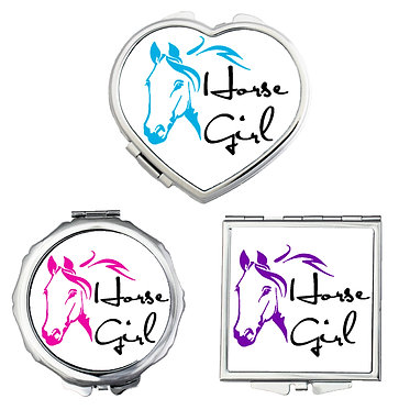 Compact mirrors in 3 shapes heart, round and square horse girl image front view