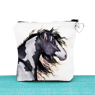 White cosmetic toiletry bag with zipper black and white paint horse image front view