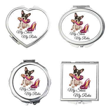 Set of four silver metal compact mirrors with dog with shoes image my shoes my rules front view