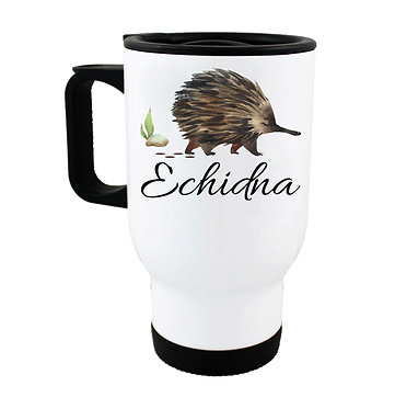 Travel mug with Australian Echidna image front view