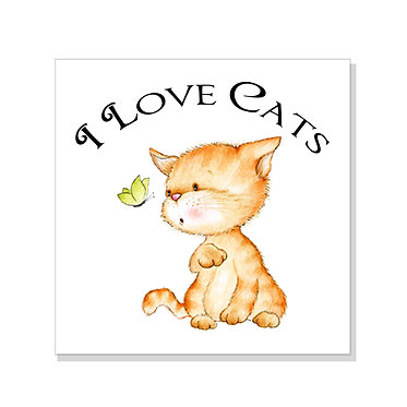 Square art print with I love cats image on acid free card stock front view