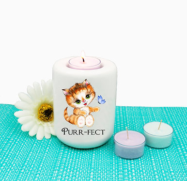 Cat ceramic tealight candle holder cute kitty purr-fect image front view