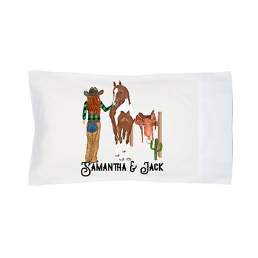 Personalised horse pillow case red haired cowgirl and horse image front right facing view