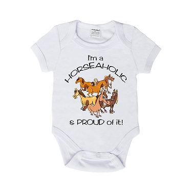Baby romper play suit white with I'm a horseaholic image front view