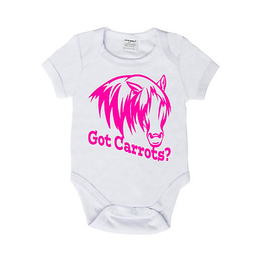 Baby romper play suit white with hot pink horse got carrots image front view