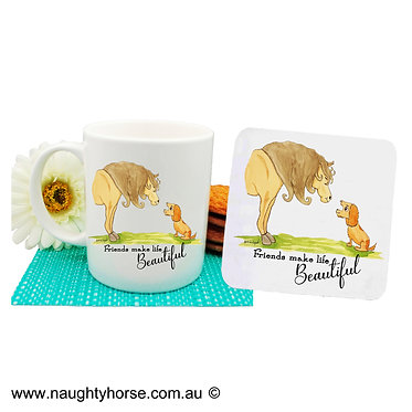 Ceramic coffee mug and drink coaster set with horse and dog friendship image front view