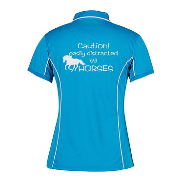 Ladies horse pipping polo shirt aqua white easily distracted by horses image back view