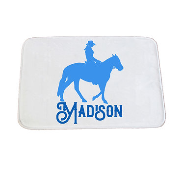 Personalised non-slip bath mat western horse rider blue image front view