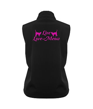 Ladies soft shell vest black with hot pink cat live love meow back view image