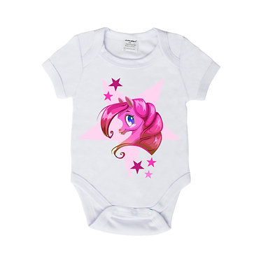 Baby romper onsie suit white with pink pony with stars front view