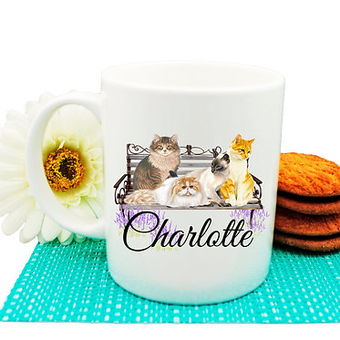 Ceramic coffee mug personalized cats on bench name image front view