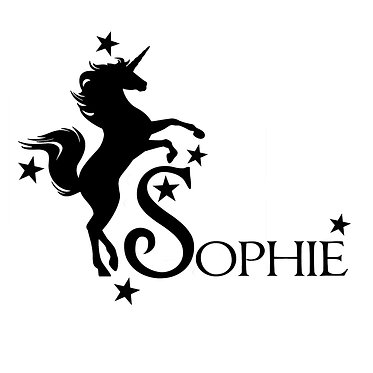 Personalised unicorn rearing with stars vinyl decal sticker in black front view