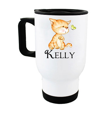 Travel mug with personalized cute kitty and butterfly and name image front view
