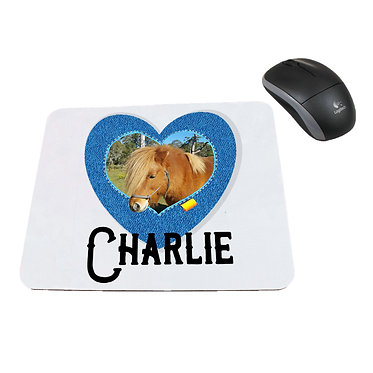 Computer mouse pad with horse, personalized with photo in heart frame in denim front view