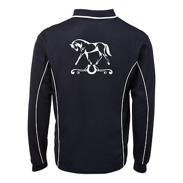 Adults long sleeve polo shirt black and white horse on scroll image back view