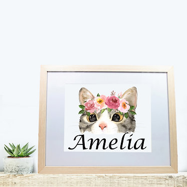 Rectangle wood picture frame personalized with cat face image front view