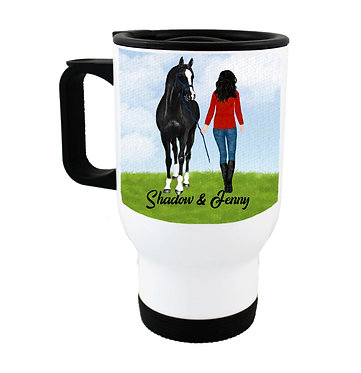 Personalised travel mug stainless steel black haired girl and horse image front view