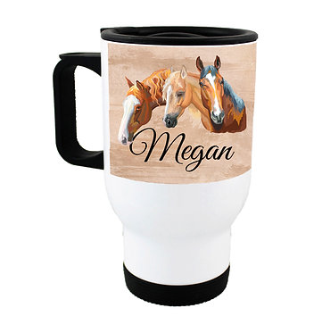 Travel mug personalized with text three horses image front view