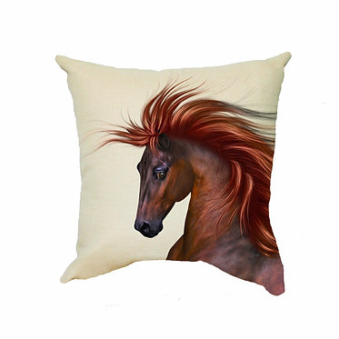 Tan cushion cover with zip chestnut horse with flowing main image front view