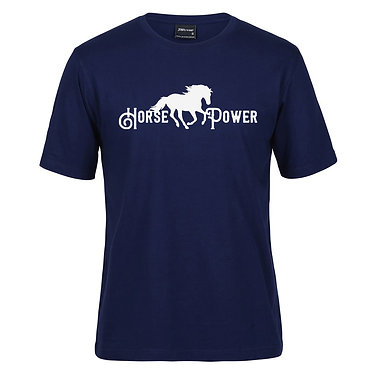 Adults t-shirt navy with white horse power image front view
