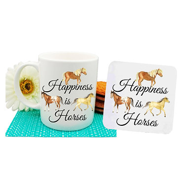 Ceramic coffee mug and drink coaster set with happiness is horses image front view